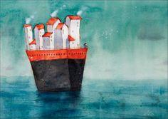 Jeune fille debout sur le navire en mer. Tirage d'art / illustration / wall art / aquarelle peinture / décoration de mur. Par Lee White.