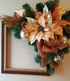 A plain picture frame transformed into a gorgeous holiday wreath! by marlas Christmas Door Decorations, Christmas Arrangements, Christmas Swags, Christmas Frames, Christmas Centerpieces, Thanksgiving Decorations, Holiday Wreaths, All Things Christmas, Christmas Ornaments