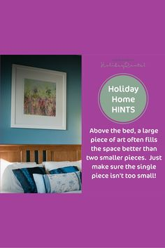 #holidayhomehints. Hang a large piece of art above the bed adds impact to the master bedroom