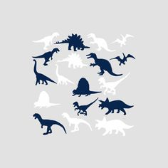 Digital Download, Navy Blue and White Dinosaur Silhouette Graphics Clip Art PNG Overlay Clipart for Transfers Prints Stickers Invitations