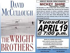 Adult book discussion @PLMVKC. The Wright Brothers by David McCullough