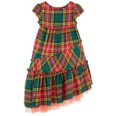 Printed viscose Fine cotton lining Synthetic tulle Half-length dress Crew neck Short sleeves Layered flounces Very flared bottom Loose fit Invisible zipper at the back Tartan print Logo plate - $CA289