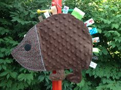 Hedgehog+Sensory++Toy+/++Security+Lovey+Tag+Blanket+by+Neosho,+$22.00