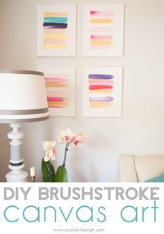 Anyone can paint these easy DIY brushstroke canvases. Learn how to in this easy tutorial.