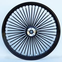 Ultima Black/Black 48 King Spoke x Single Disc Front Wheel for Harley and Custom Models. Fits Harley and Custom Wide Glide Style Front Ends. Tyre Brands, Aluminum Rims, Harley Softail, Motorcycle Wheels, Pit Bike, Custom Harleys, Street Glide, Bike Parts, King