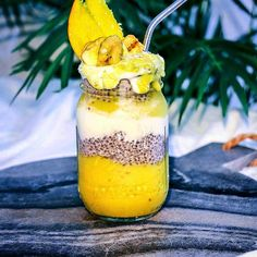 MANGO COYO CHIA PUDDING!  Repost from @linasaber -  Mango Coyo Chia Pudding  this gives me so much NRG and tastes delightfully creamy! The base is mango chunks blended with fro nana and chilled coconut flesh cream topped with homemade coconut chia pudding and thick coconut yogurt! I finished it off with fresh mango and crispy banana chips!   Follow us on IG @ugly_by_nature