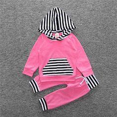 Hot Pink with Black/White Stripe Hoodie Set
