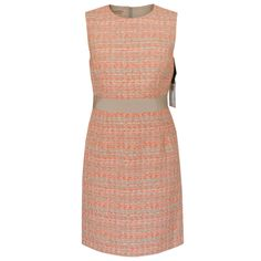 GIAMBATTISTA VALLI $2,630 orange tan boucle grosgrain waist tweed dress 44/8 NEW #GiambattistaValli #Sheath #CocktailDress #Tweed #Orange