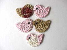 Crochet Birds; appliqué on any number of items for little girls.  Purse, apron, dress, swing top, jacket...