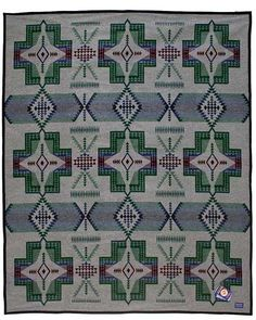 """The unnapped  Pendleton Conejos blanket  features a 9 element design containing directional crosses, arrows, diamond shapes and weaving elementsof Navajo, Hopi and Zunie cultures.  Available in Twin/Full, Queen and King sizes.        Size:  108""""  X 90""""       Material:  82% Wool -18% Cotton       Binding:  Felt      Texture:  Unnapped      Origin:  Made in USA:       Manufacturer:  Pendleton Woolen Mills       Care:  Dry Clean Only      Ships In 1-2 Business Days       Unnapped Blanke…"""