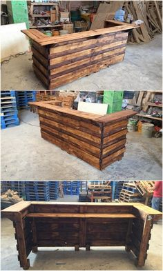 Dismantle the wood pallet plank slats and arrange it in the vertical arrangement over one another in order to finally come up with the building of the innovative counter table. It includes the placement of the planks over each other that do adds up the medium of stylish counter table design.