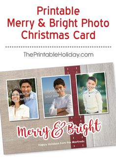 Show off your three favorite photos from the past year in this cute rustic Christmas card template! Your photos are front and center, on a backdrop of burlap and wood, decorated with a festive red ribbon. Simple but sweet, this template is even better personalized with your custom message! | Printable Merry & Bright Photo Christmas Card from #ThePrintableHoliday