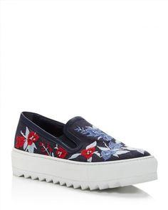 595.00$  Buy here - http://vijbl.justgood.pw/vig/item.php?t=cmle9d56176 - Salvatore Ferragamo Egla Embroidered Denim Platform Slip On Sneakers 595.00$