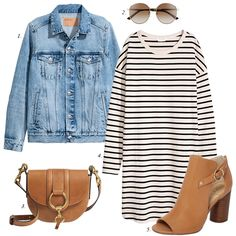 how to style striped dress denim jacket, spring outfit, denim jacket, women fashion, casual outfit