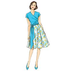 Wrap top and full skirt sewing pattern by Gertie for Butterick. B6285, Misses' Top and Skirt