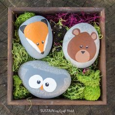 Have fun rock painting these adorable and playful woodland animals! Nature crafts rock!