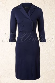 King Louie - 40s Cleo 3/4 Sleeve Dress Milano in Ink Blue