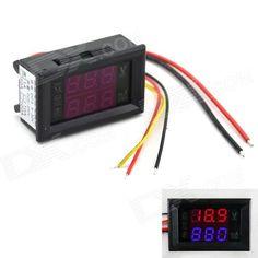 MaiTech 0.28 DC LED Red + Blue Display Digital Ampere-Voltage Meter - Black (DC 0~200V / 1A)
