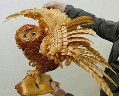 Sergey Bobkov  :  Sculptures of animals from shavings of Siberian cedar
