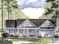 Cottage Country Craftsman Ranch Southern Traditional Elevation of Plan 94182