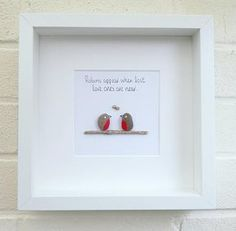 Pebble pictures Pebble art robins birds nature art home decor