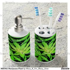 MKFMJ Marijuana Plant Soap Dispenser And Toothbrush Holder