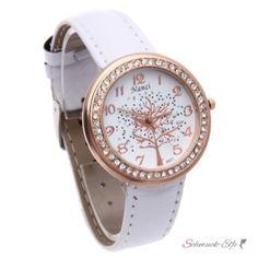 Damen Armbanduhr 3D Baum mit Zirkonias  Rosegold weiß