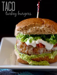 Taco Turkey Burgers via Rachel Cooks; Meal Plans Made Simple
