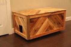 All in One Cat Box — MonoLoco Workshop Cat Litter Box Diy, Litter Box Enclosure, Diy Furniture Litter Box, Cat Furniture, Pallet Furniture, Diy Holz, Wood Storage, Storage Cart, Lumber Storage