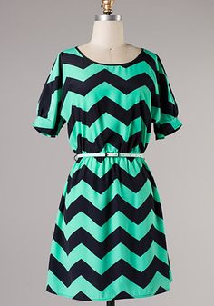 Frances Chevron Dress: Aqua [73-D2206] - $44.99 : Spotted Moth, Chic and sweet clothing and accessories for women