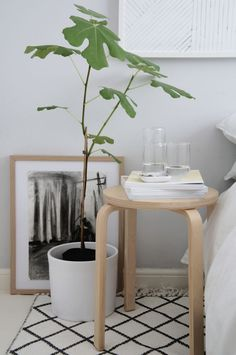 bedroom bedside table styling