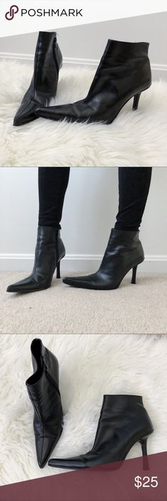 ALDO Black Pointed Boots Size 38 This is a used pair of Aldo black boots with a pointed toe. They're still in great condition. Major girl boss vibes. Aldo Shoes Ankle Boots & Booties