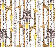 Giraffe Line-Up (Color Pencil) fabric by ttoz on Spoonflower - custom fabric