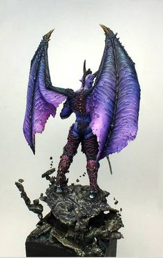 Warhammer Paint, Warhammer Models, Character Design Inspiration, Painting Inspiration, Chaos Daemons, Demon Wings, Tyranids, Figure Sketching, Dioramas