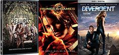 The Hunger Games / Divergent DVD  Beautiful Creatures  3 Disc Fantasy Movie collection