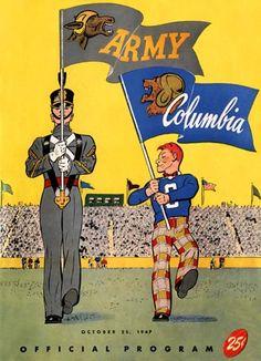 1947 Columbia beats Army. Vintage game program. HistoricFootballPostersBlog.com