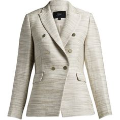 Trudy Jacket (18.710 RUB) ❤ liked on Polyvore featuring outerwear, jackets, double breasted jacket, white tweed jacket, white jacket, tweed jacket and workwear jacket