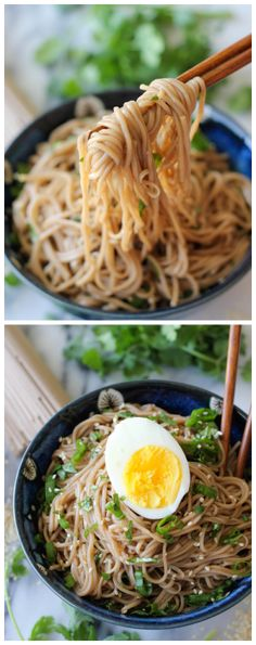 Sesame Soba Noodles - With a simple Asian vinaigrette and soba noodles, you'll have a hearty meal on the dinner table in just 15 minutes!