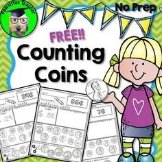 No Prep Counting Coins free sample is for students in First, Second and Third grade who are learning how to count coins! Pennies, Nickels, Dimes, and Quarters are included in each printable! Counting Coins pack is great for:Whole Money Activities, First Grade Activities, Math Resources, Money Games, Human Resources, 2nd Grade Classroom, Math Classroom, Kindergarten Math, Math Literacy