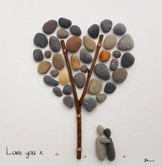 Love you - Ready to ship today. I like to work with natural and up-cycled materials, bringing life back to the ordinary and discarded. The piece is presented in a white or black 23 cm (9) x 23 cm (9) frame.