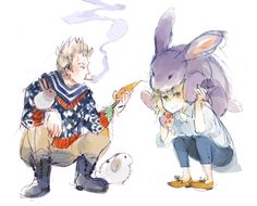 konijntje siblings by starstray.deviantart.com on @deviantART - Willem and Anouk (head-canon names for Netherlands and Belgium respectively) with some of their rabbits: Netherland Dwarfs and one Flemish Giant Rabbit.