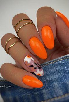 Bright Orange Nails, Orange Nail Art, Orange Acrylic Nails, Almond Acrylic Nails, Best Acrylic Nails, Neon Nail Designs, Orange Nail Designs, Flower Nail Designs, Matte Nails Glitter