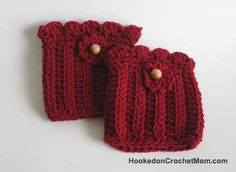 Boot Cuff with Flower and Beads Crochet - Red Boot Topper - Handmade Crocheted for Womens / Teens