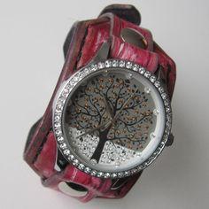 Crazy Leather watch, Women wrist watch, Women leather cuff watch, Squere cuff watch
