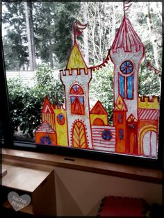 Castle on the Children's Area windows. Drawn with window markers.