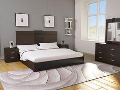 Pizarro Cabecera Contemporánea King Size Chocolate-Liverpool es parte de MI vida Bedroom Bed Design, Bedroom Sets, Home Decor Bedroom, Modern Bedroom Furniture, Bed Furniture, Brown Furniture, Muebles Color Chocolate, Double Bed Designs, Cama King
