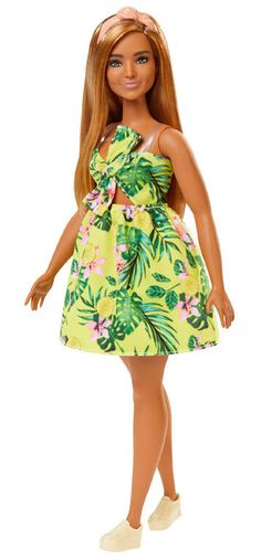 Barbie Fashionistas Doll with Long Blonde Hair Wearing Tropical Print Dress and Accessories, for 3 to 8 Year Olds, Mattel Barbie, Barbie Dress, Barbie Clothes, Bella Hadid, Costume Noir, Tropical Outfit, Barbie Fashionista Dolls, Dark Blonde Hair, Barbie Collection