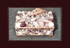 "Handmade Sea Shell Felt-lined 8x5x5"" Decorated Wooden Jewelry Box, Beach/Nautical/Coastal Decor, Wedding/Anniversary/House Warming Gift by Eagle414 Sea Shell Creations, $112.00 USD"