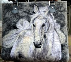 Horse Felted Handbag Gray White Fashion Women by ApratovaFelting