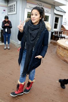 White + Warren   Gina Rodriguez enjoys Sundance Film Festival 2015 in the Cashmere Fringe Scarf